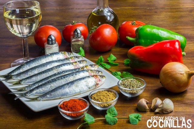 Sardinas a la moruna (ingredientes)