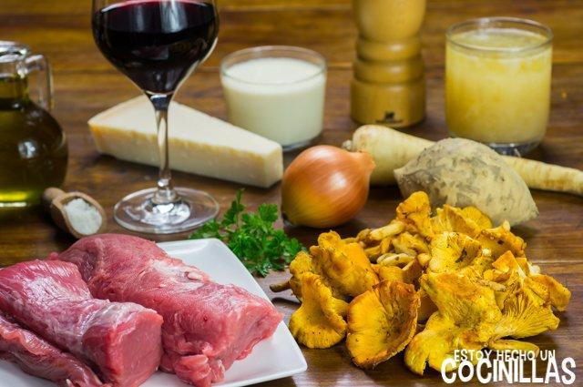 Solomillo de cerdo con rebozuelos (ingredientes)