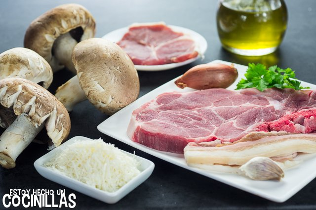 Champiñones rellenos de carne (ingredientes)