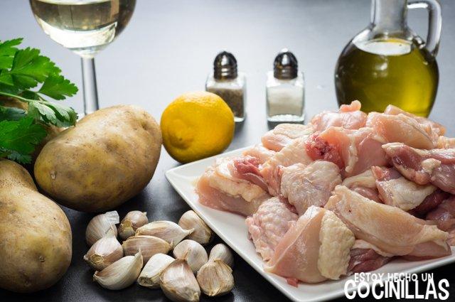 Pollo al ajillo con patatas fritas (ingredientes)