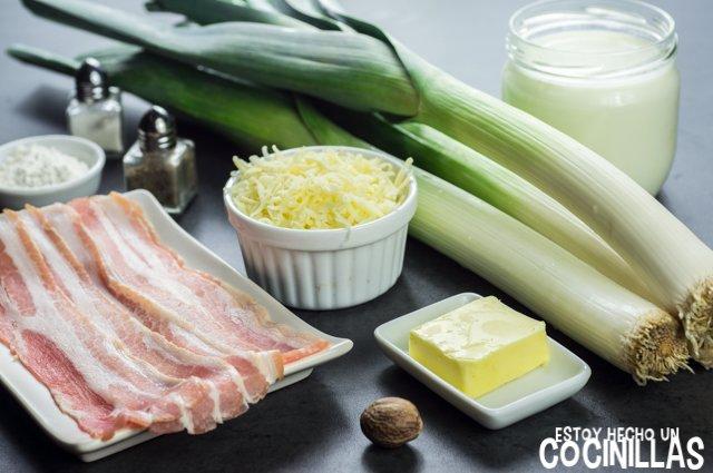 Puerros con bacon gratinados al horno (ingredientes)