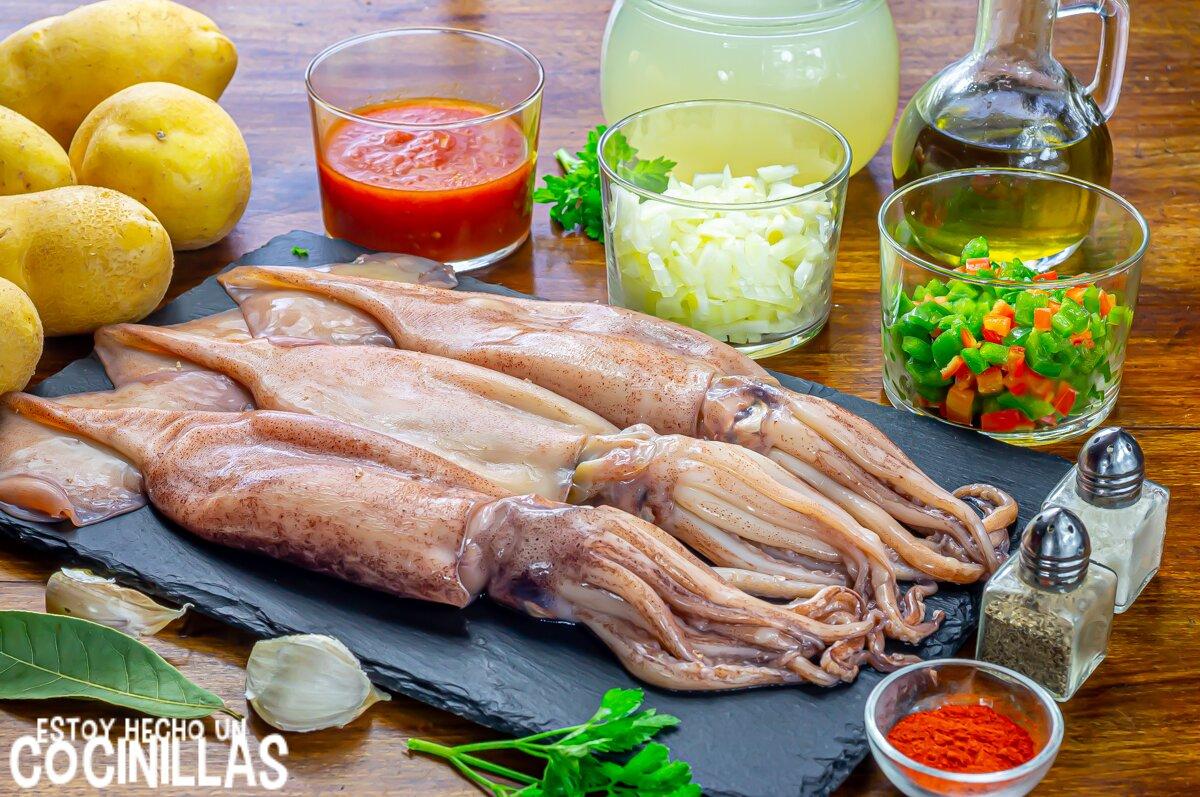 Patatas con calamares (ingredientes)