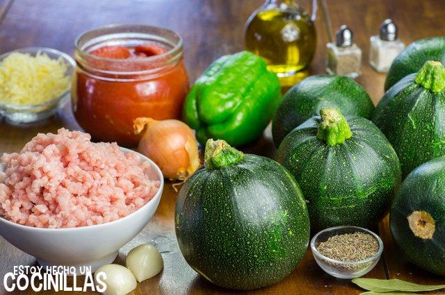 Calabacines rellenos de carne (ingredientes)
