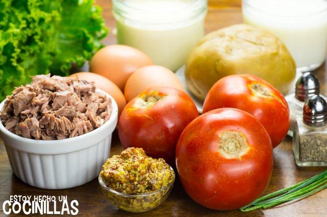 Tarta de atún, tomate y mostaza (ingredientes)