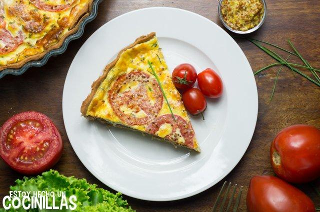 Tarta de atún, tomate y mostaza (receta)