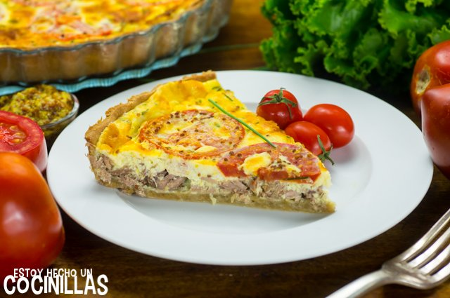 Tarta de atún, tomate y mostaza