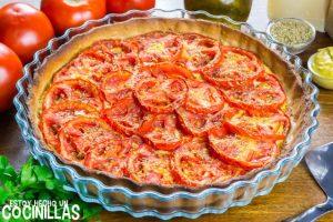 Tarta salada de tomate y mostaza