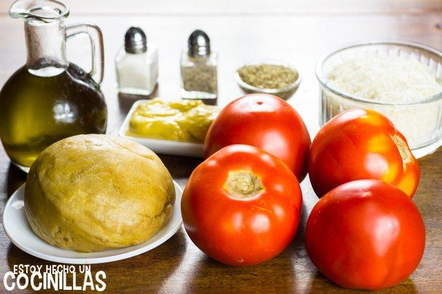 Tarta salada de tomate y mostaza (ingredientes)