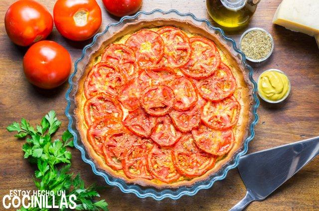 Tarta salada de tomate y mostaza (receta)