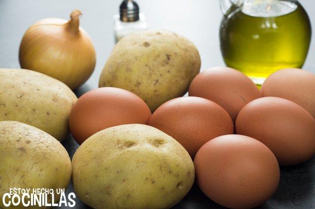 Tortilla de patatas al microondas (ingredientes)