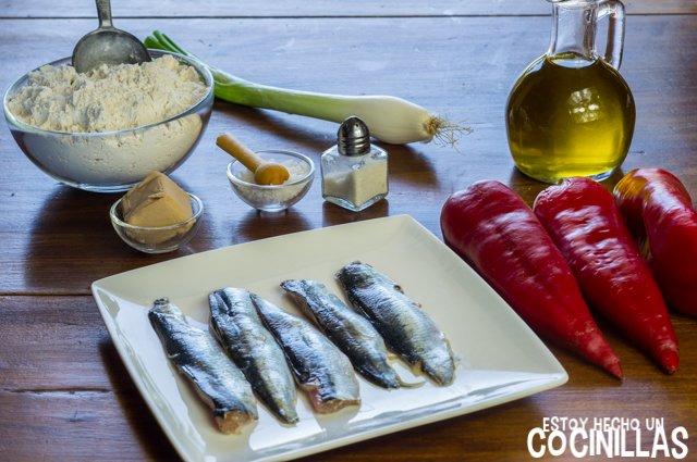 Coca de pimientos asados con sardinas (ingredientes)