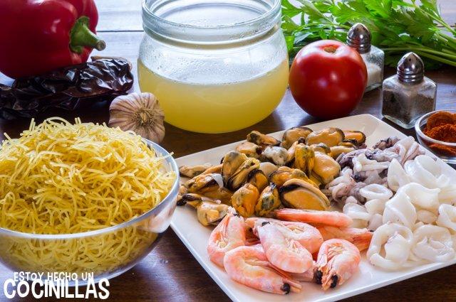 Fideua de marisco (ingredientes)