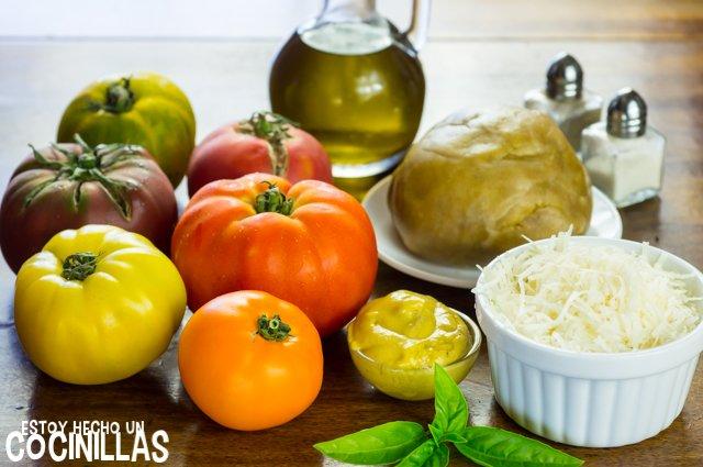 Tarta de tomates de colores (ingredientes)