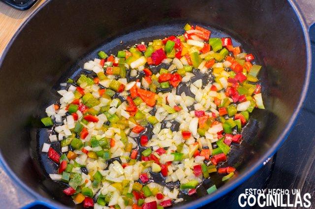 Mejillones a la provenzal (cebolla y pimiento)