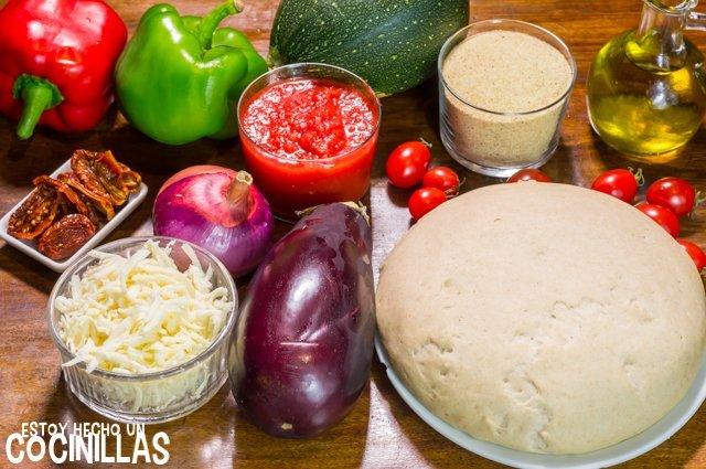 Pizza de verduras (ingredientes)
