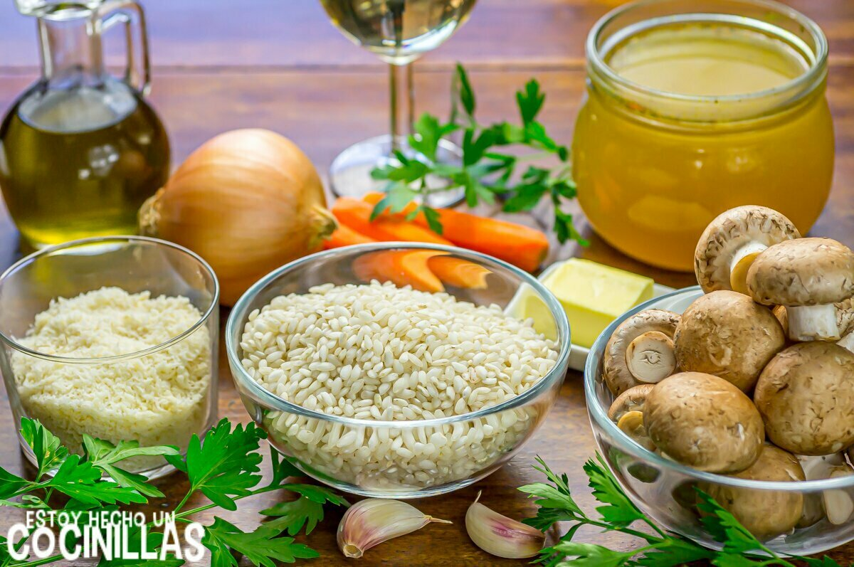 Risotto de champiñones (ingredientes)