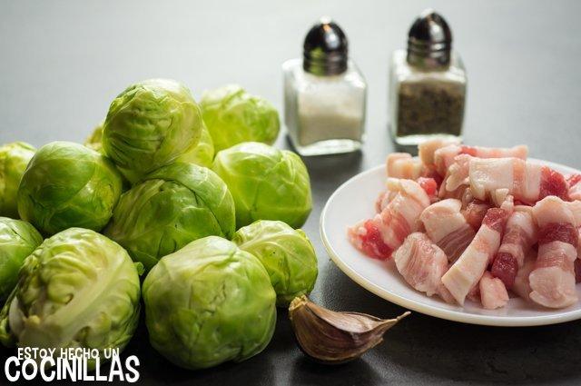Coles de bruselas salteadas con bacon (ingredientes)