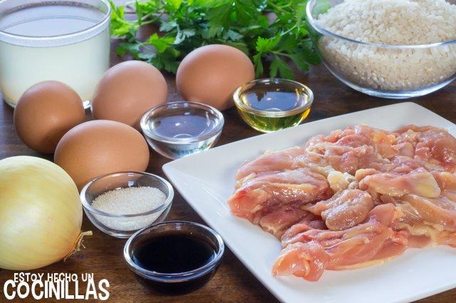 Ingredientes para preparar oyakodon