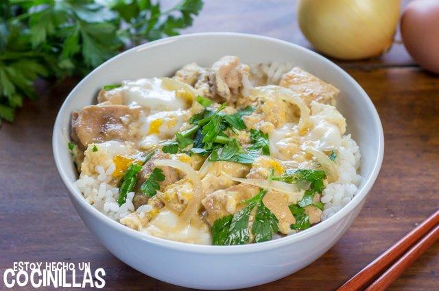 Oyakodon (bol de arroz con pollo y huevo)