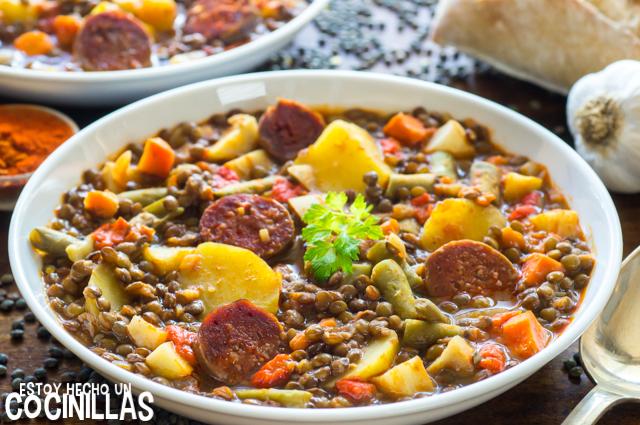 Lentejas con chorizo y verduras (guiso de lentejas)