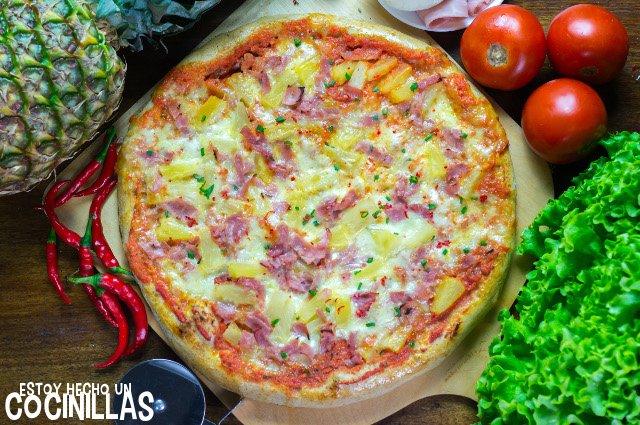 Receta de pizza hawaiana con piña