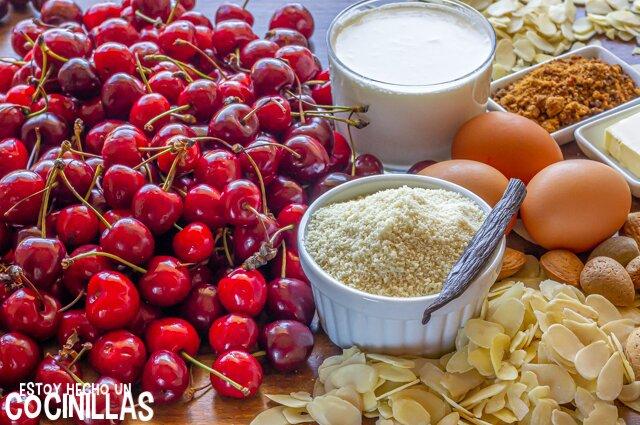 Clafoutis de cerezas con almendras (ingredientes)