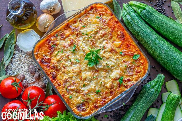 Lasaña de calabacín vegetariana con boloñesa de soja