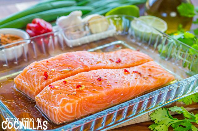Salmón a la plancha marinado con soja (reposo)