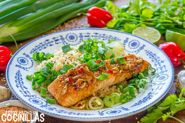 Salmón a la plancha marinado con soja