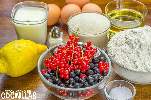 Bizcocho de yogur y grosellas (ingredientes)