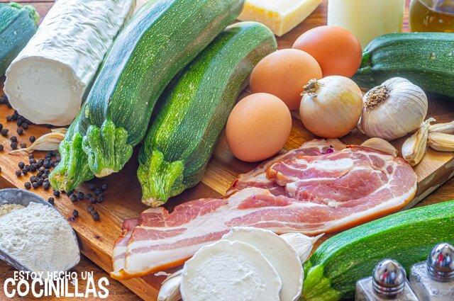 Pastel de calabacín y queso de cabra (ingredientes)