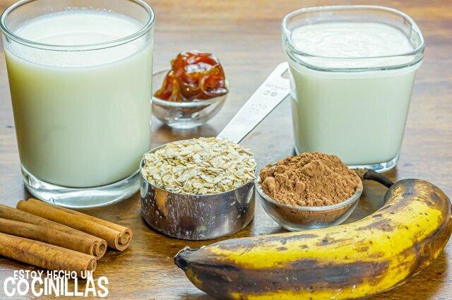 Batido de chocolate, plátano y avena (ingredientes)