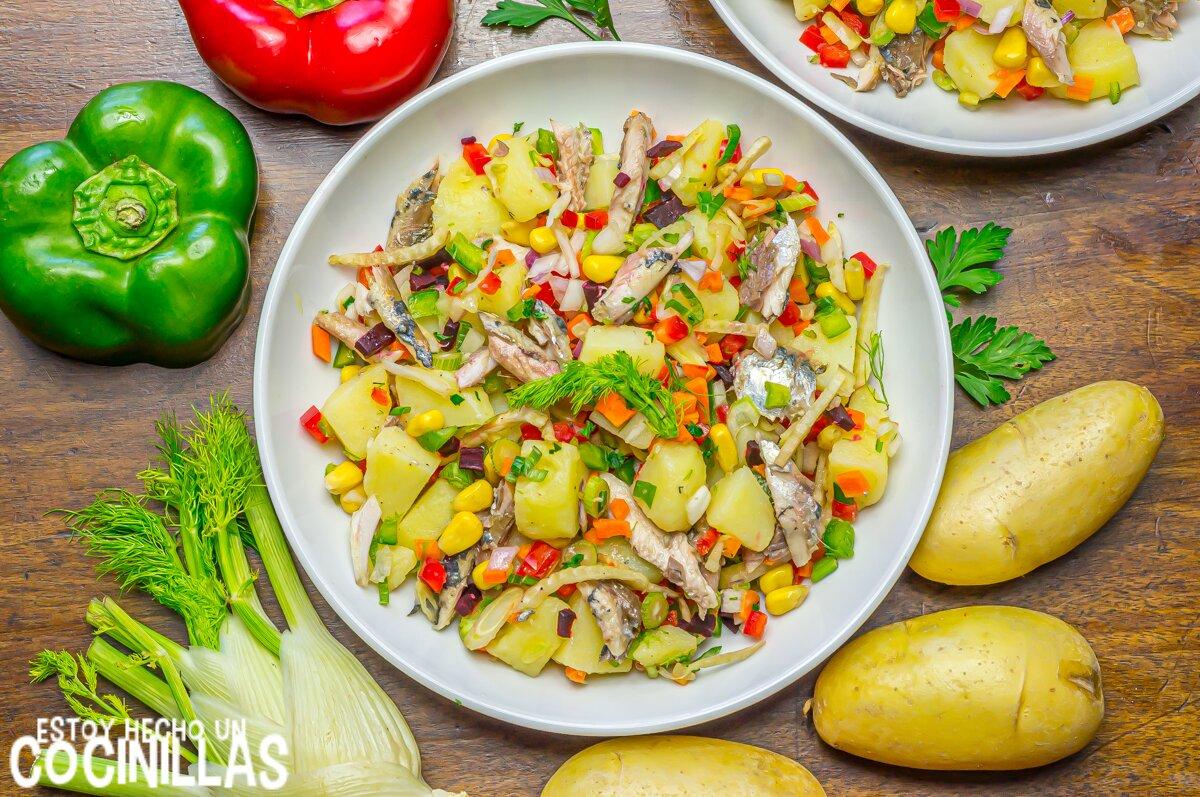 Ensalada de patata y sardinas