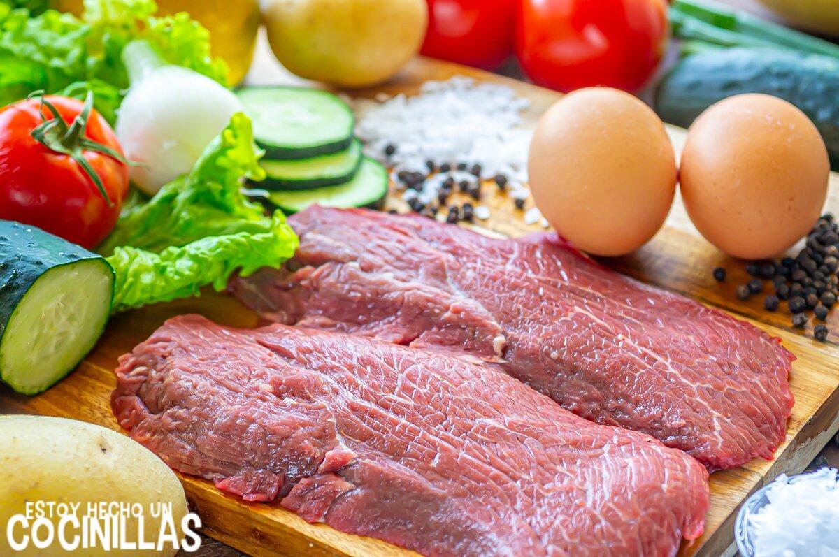 Filete de ternera a la plancha con patatas (ingredientes)