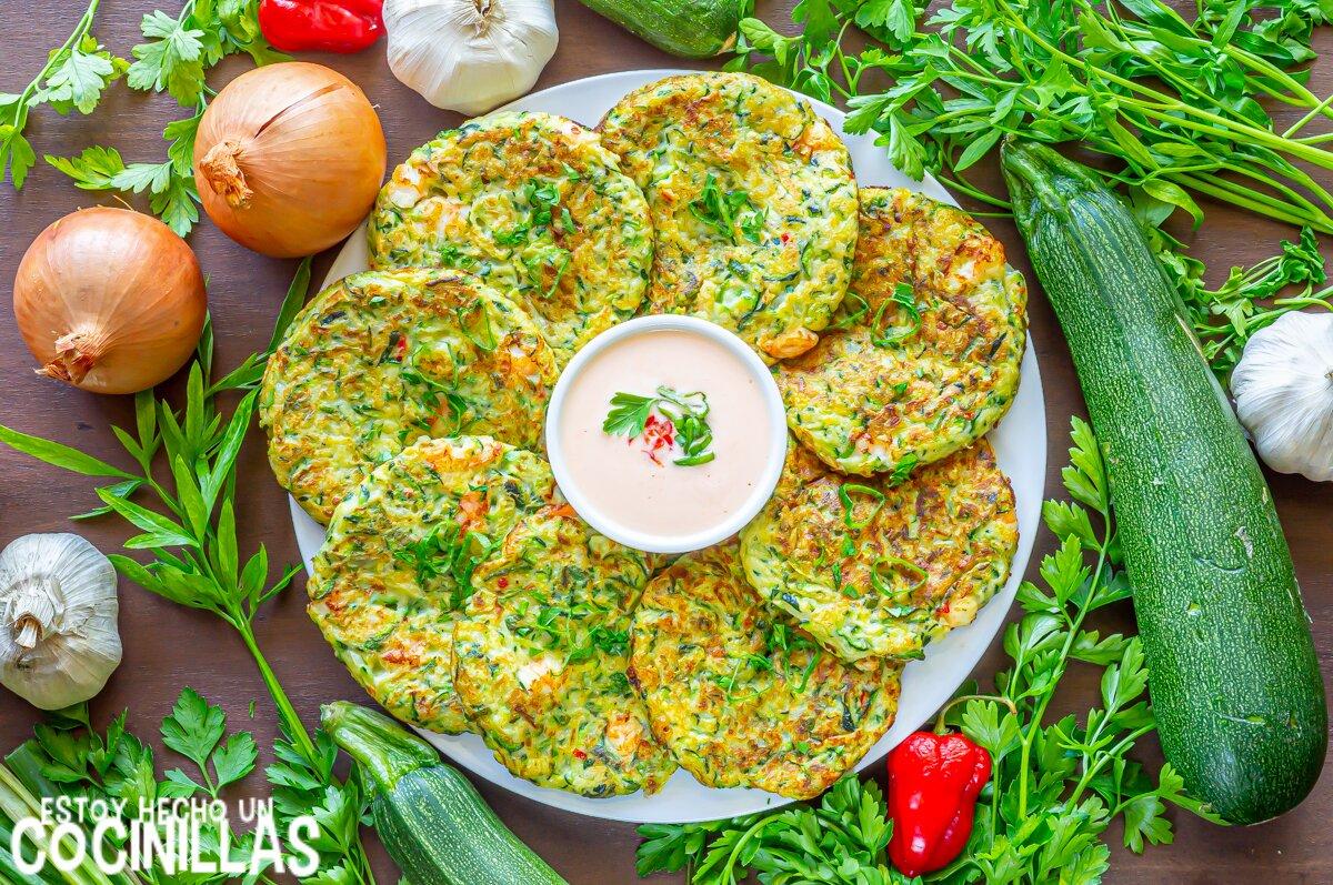 Tortitas saladas de calabacín con gambas