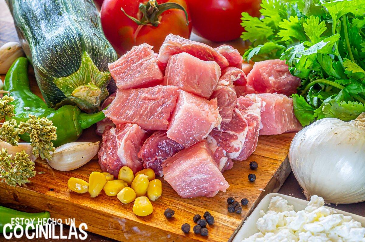 Estofado de cerdo con calabacín (ingredientes)