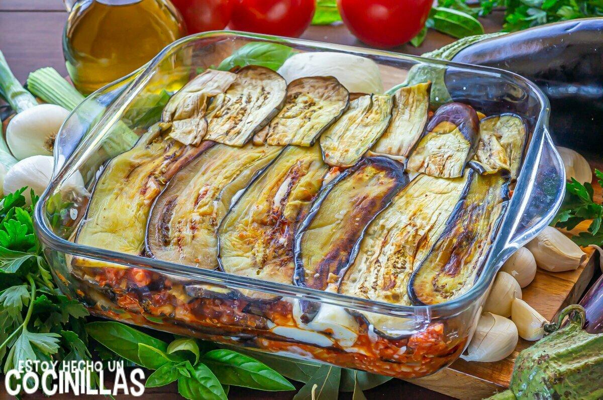 Lasaña de berenjena y carne picada (capas de berenjena)