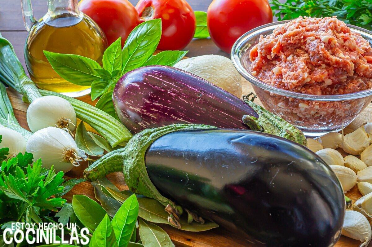 Lasaña de berenjena y carne picada (ingredientes)