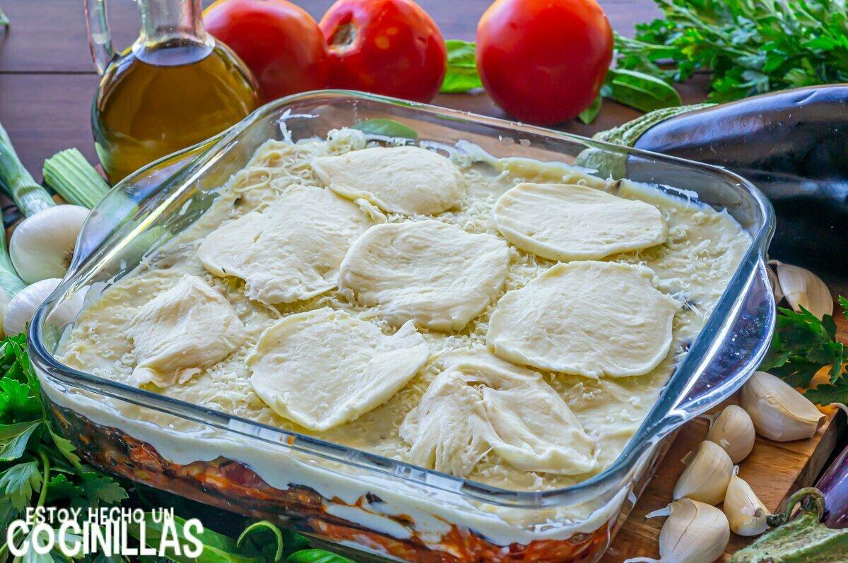 Lasaña de berenjena y carne picada (mozzarella)
