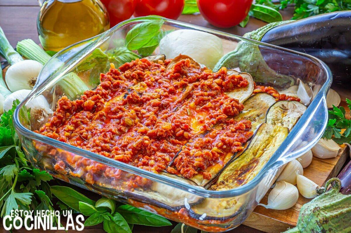 Lasaña de berenjena y carne picada (relleno)