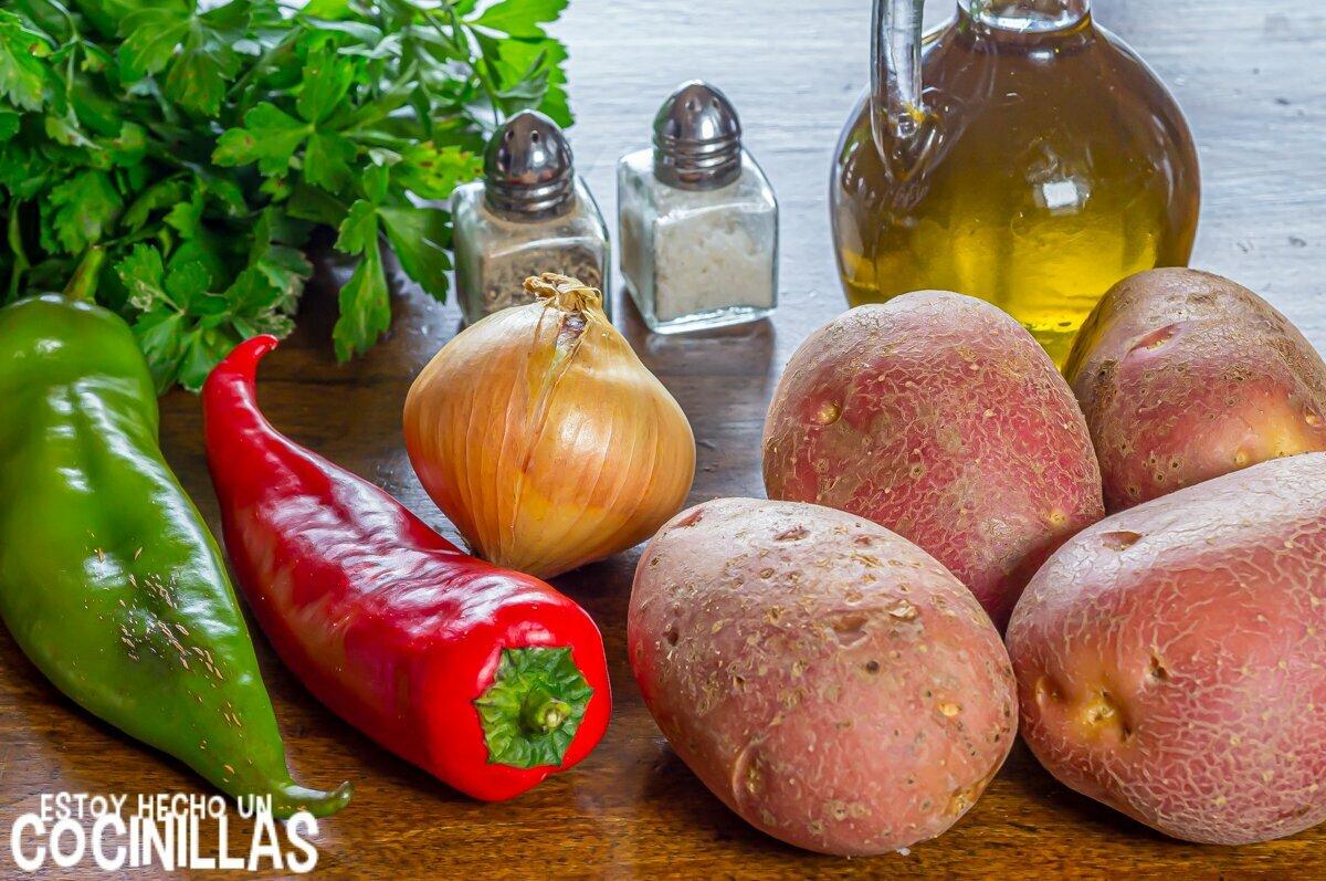 Patatas a lo pobre al horno (ingredientes)