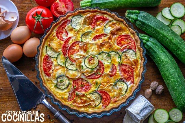 Receta de quiche de calabacín, tomate y queso de cabra