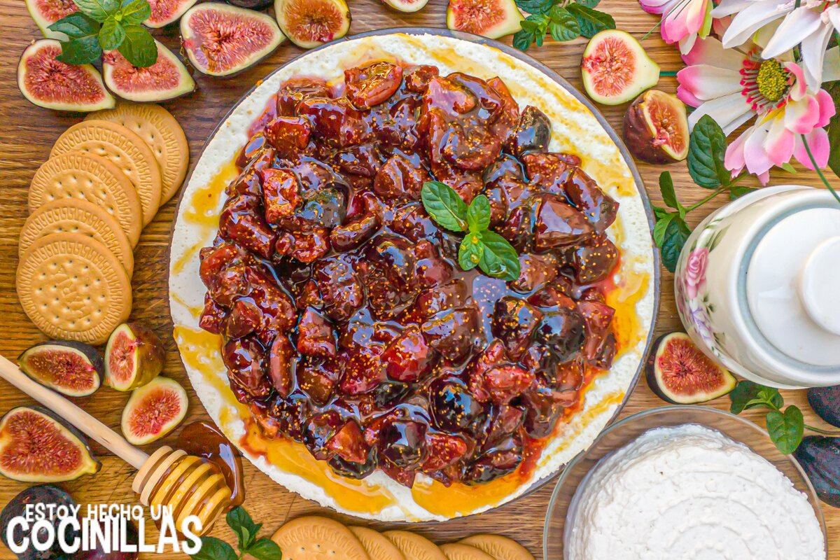 Receta de tarta de requesón con mermelada de higos y miel