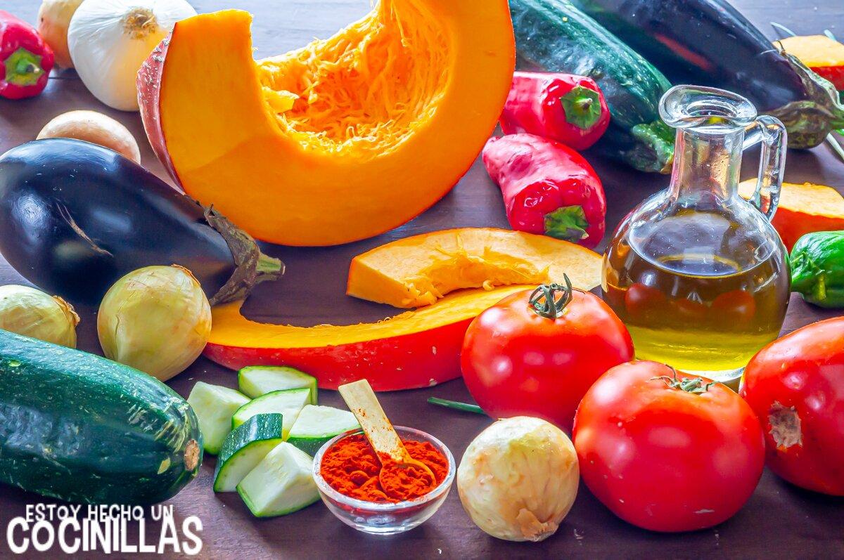Ingredientes para alboronía (pisto andaluz con calabaza y berenjena)