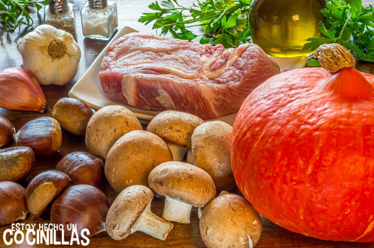 Ingredientes calabaza potimarron rellena con champiñones y castañas