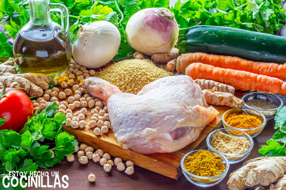 Ingredientes cuscús de pollo con verduras