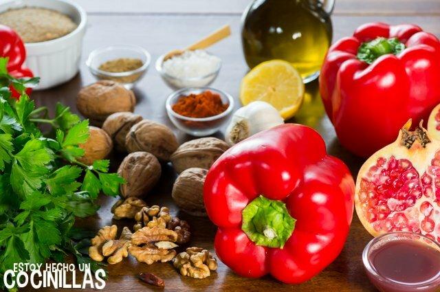 Ingredientes muhammara (paté de pimiento rojo)