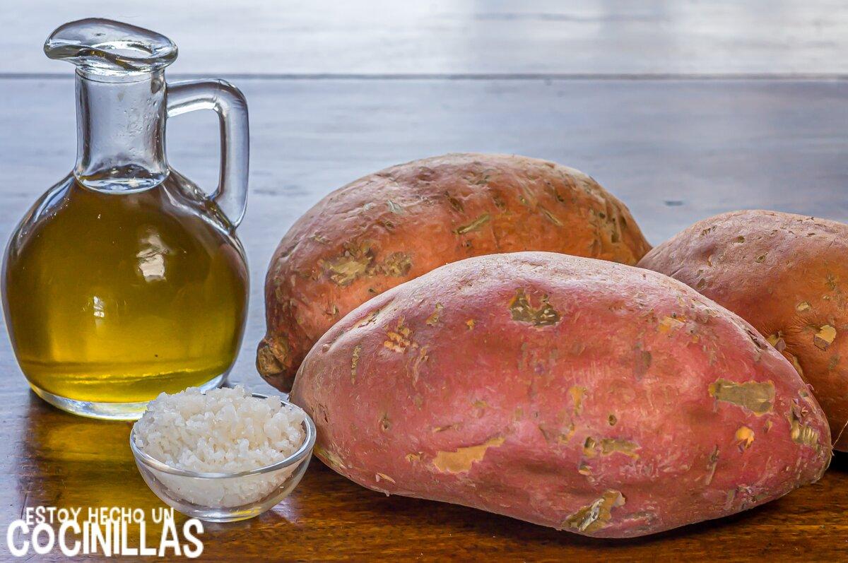 Ingredientes para patatas fritas de boniato al horno (sweet potato fries)