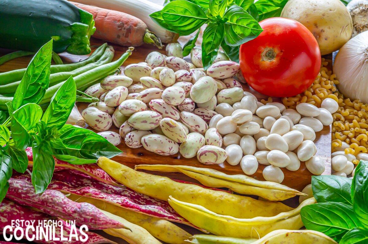 Ingredientes soupe au pistou (sopa de verduras francesa)