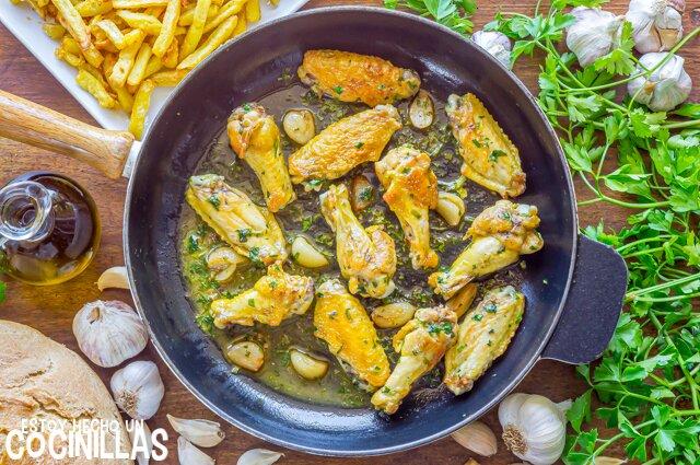 Receta de alitas de pollo al ajillo
